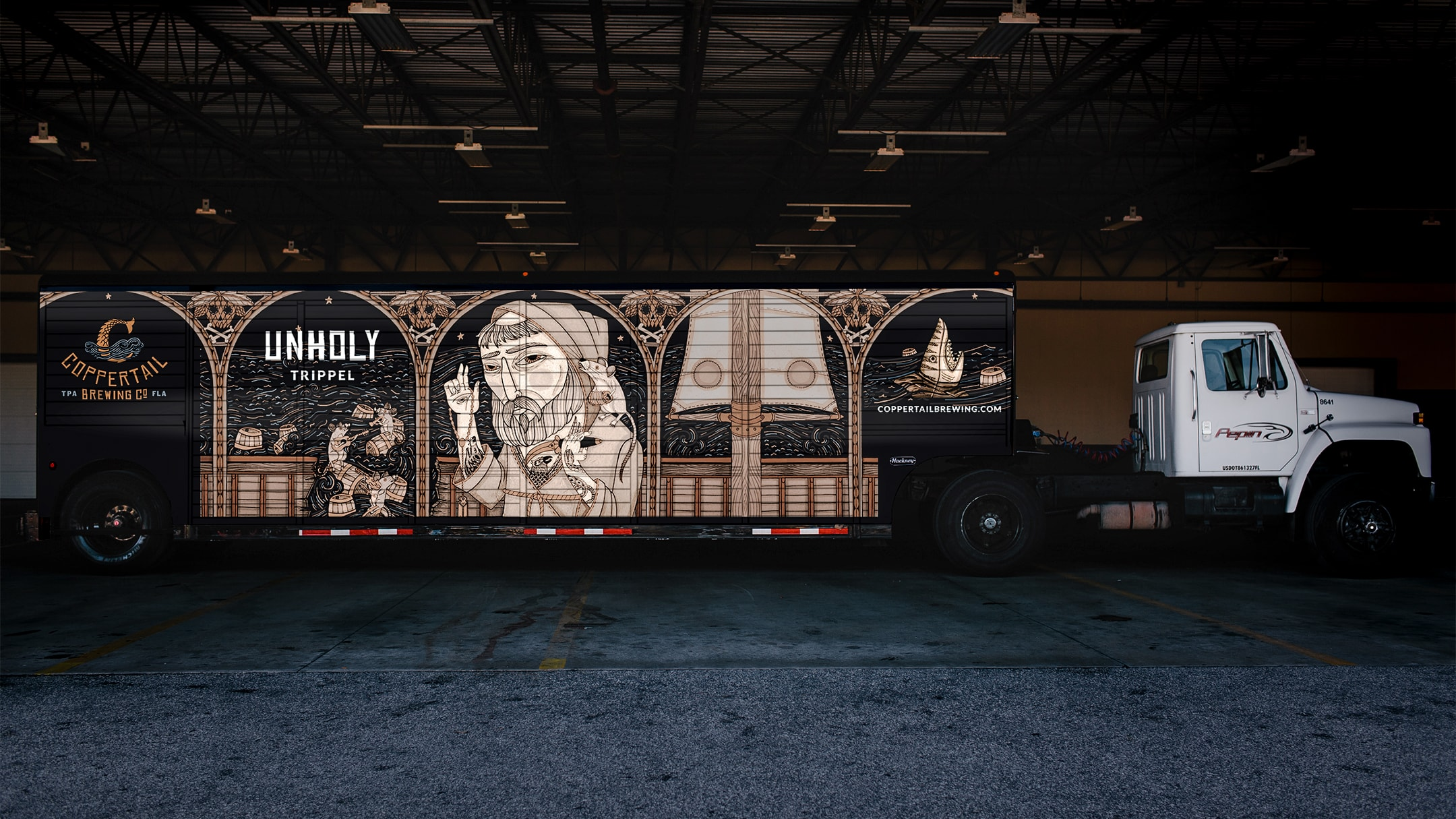 Coppertail brand wrapped truck