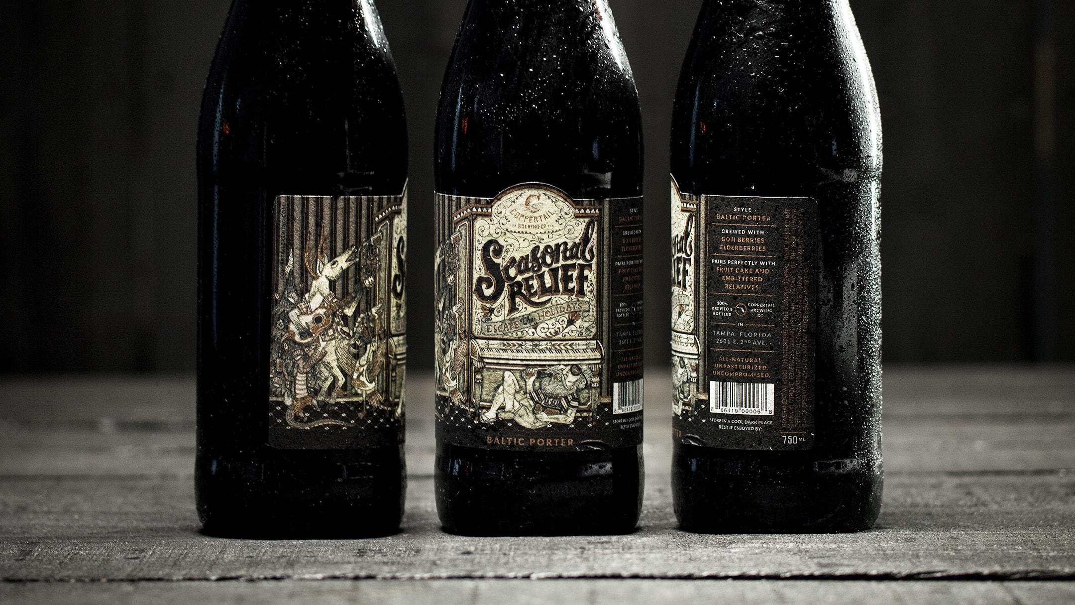 Coppertail specialty seasonal label on bottles