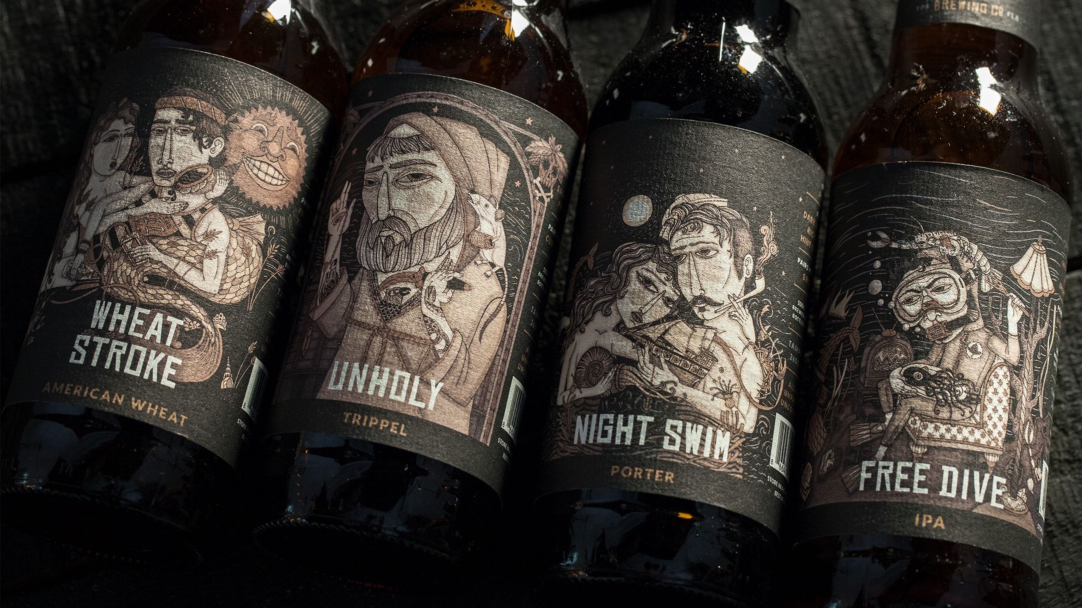 Coppertail Beer Bottle designs seen on their core 4.