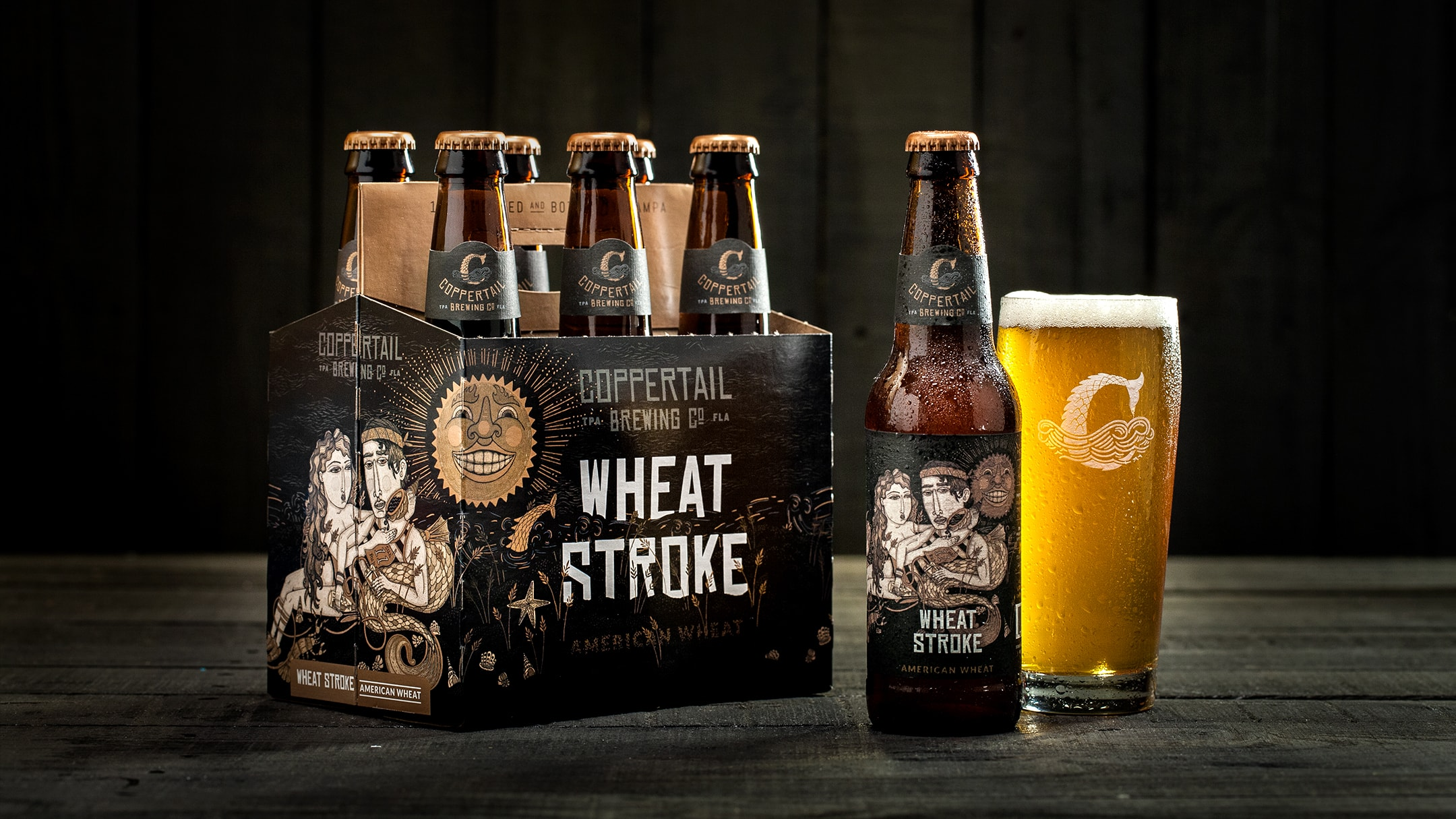 Coppertail 6-pack product packaging and beer in a glass.