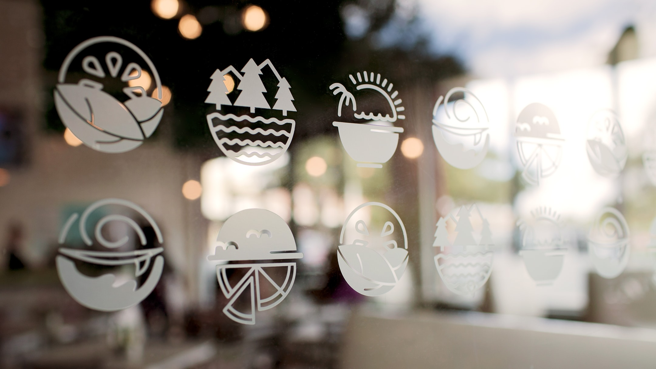 Ciccio Cali storefront window appliques for their restaurant branding and brand refresh.