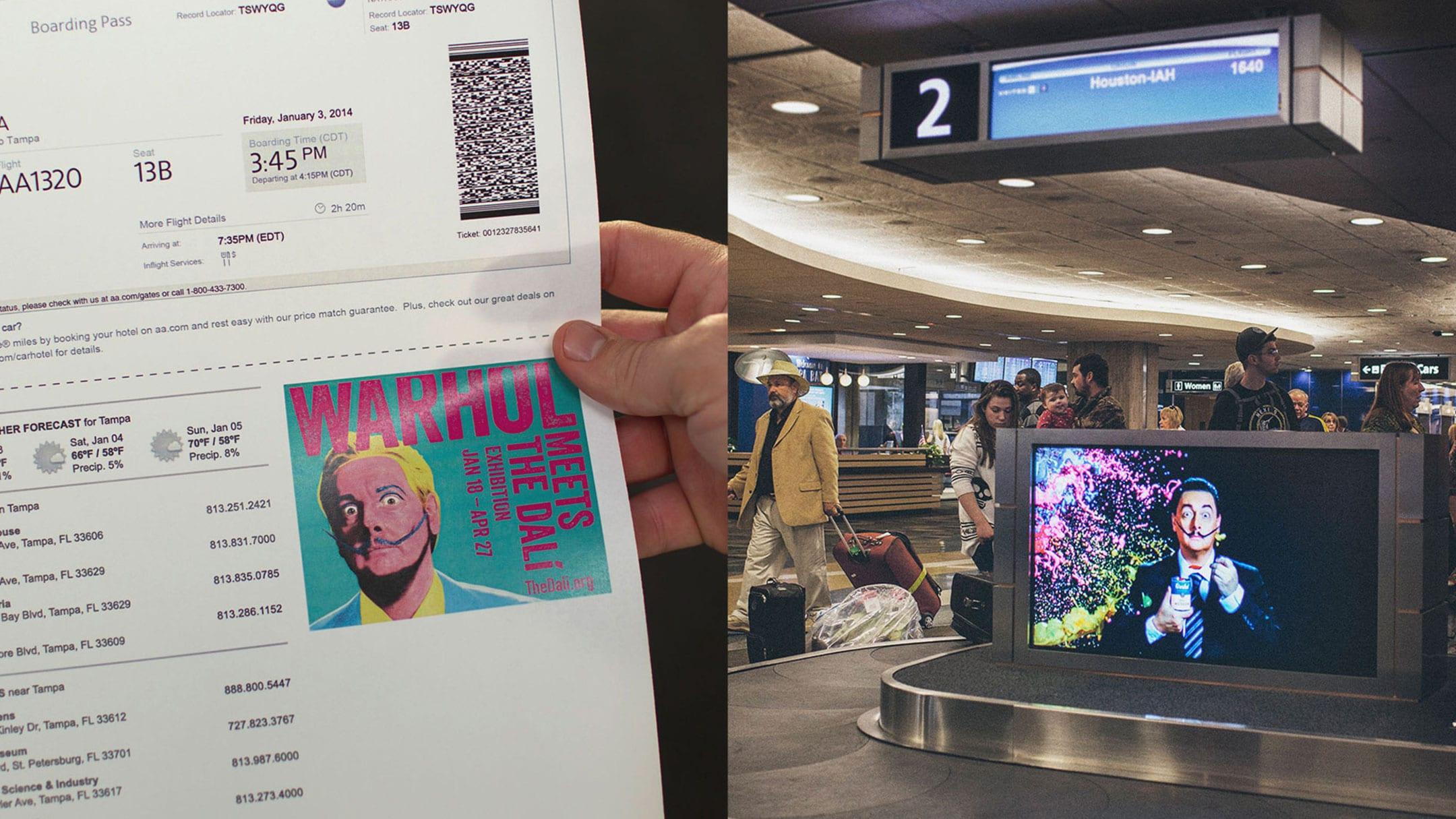 Tv image of Dali at the airport