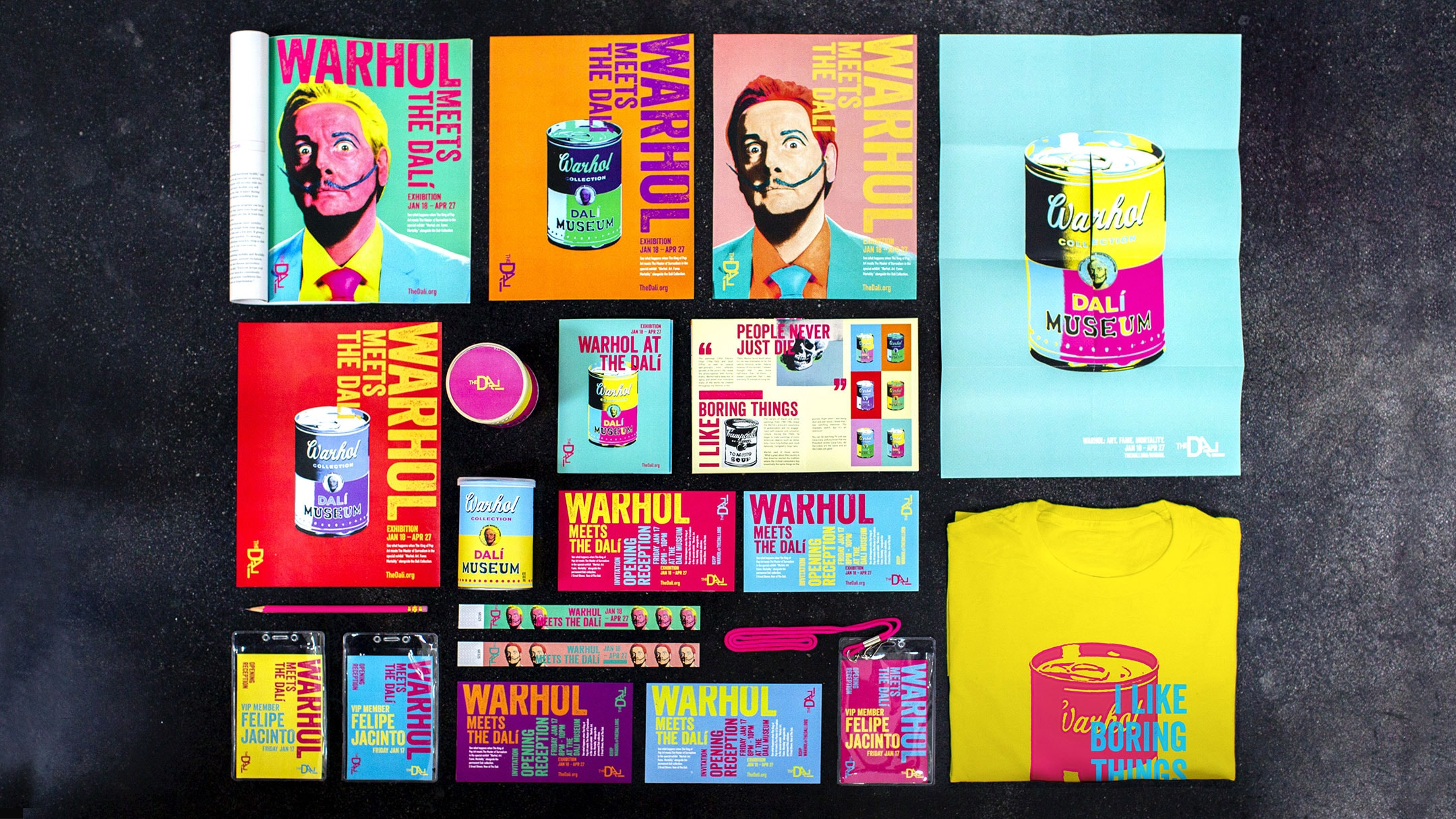 Overview shot of Dalí / Warhol Creative Campaign and attraction marketing elements