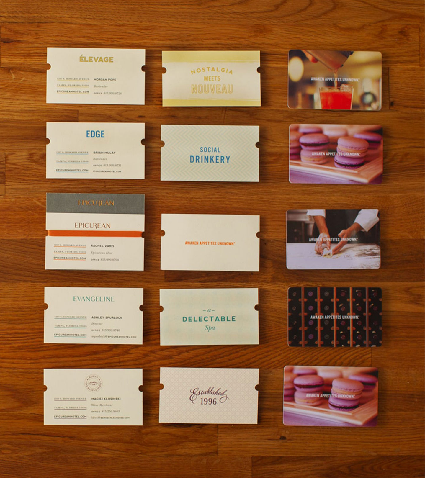 Epicurean Hotel branded collateral and business cards