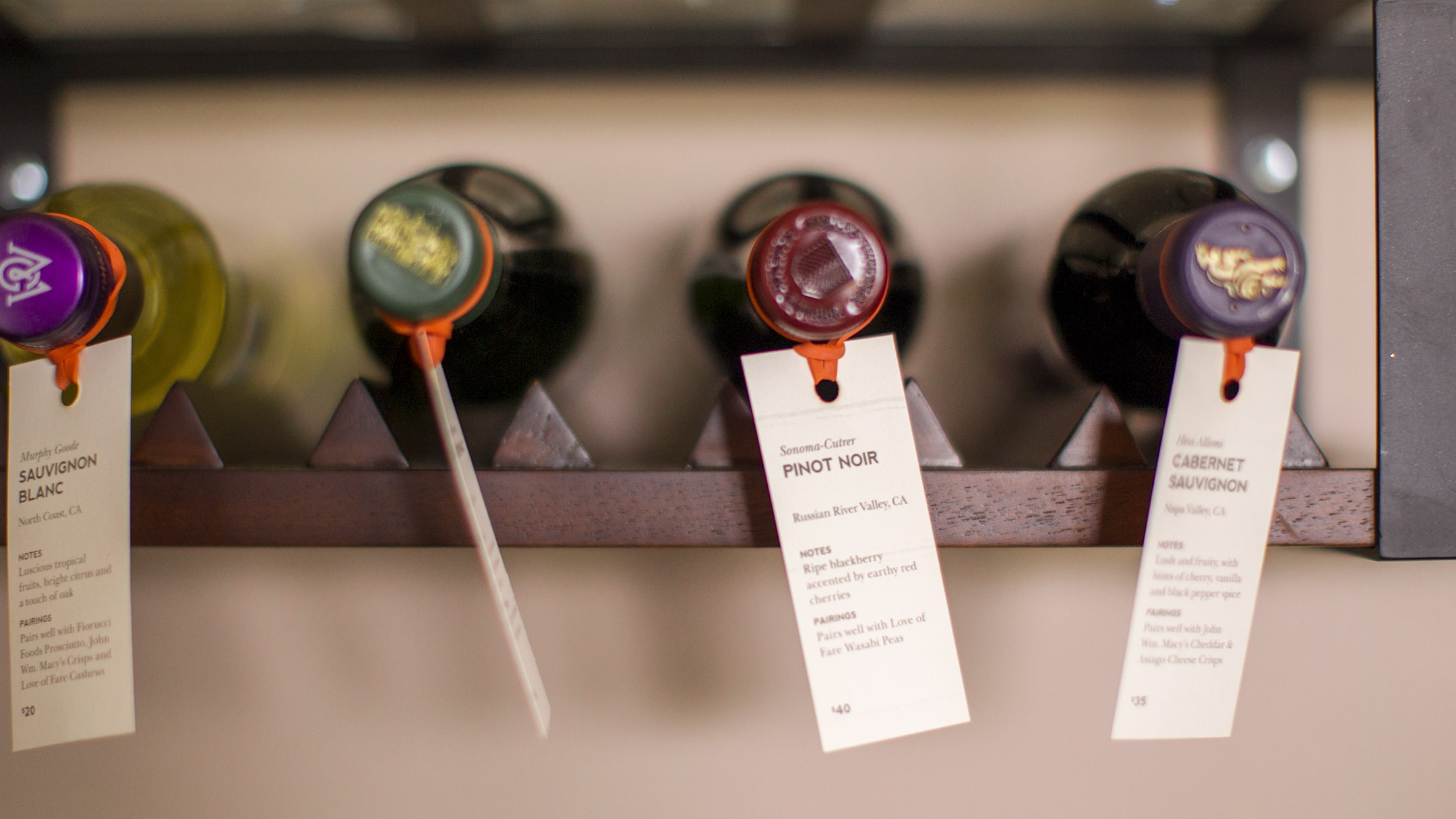 Epicurean Hotel branded wine flights with info tags