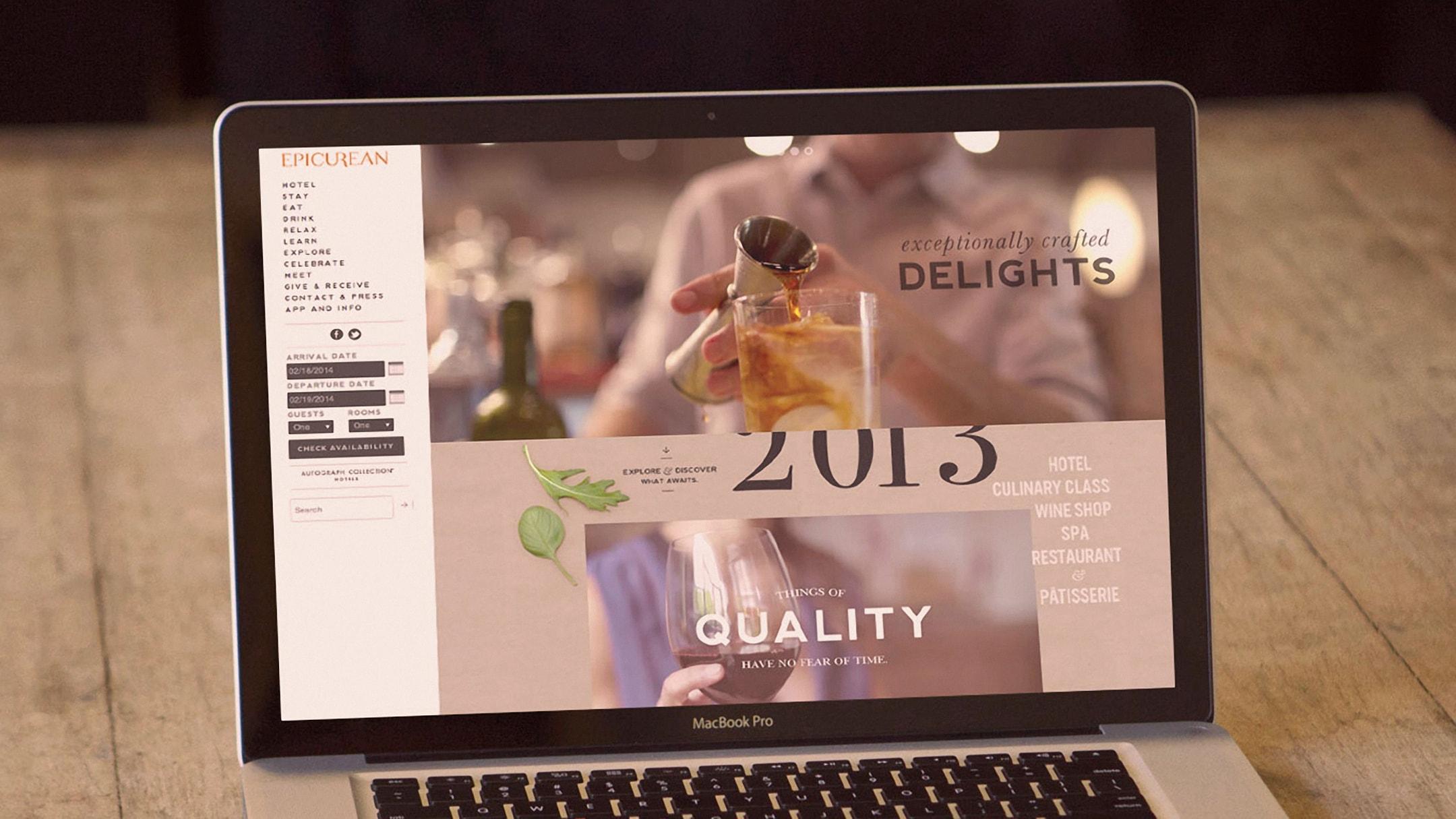 Epicurean Hotel website on laptop computer