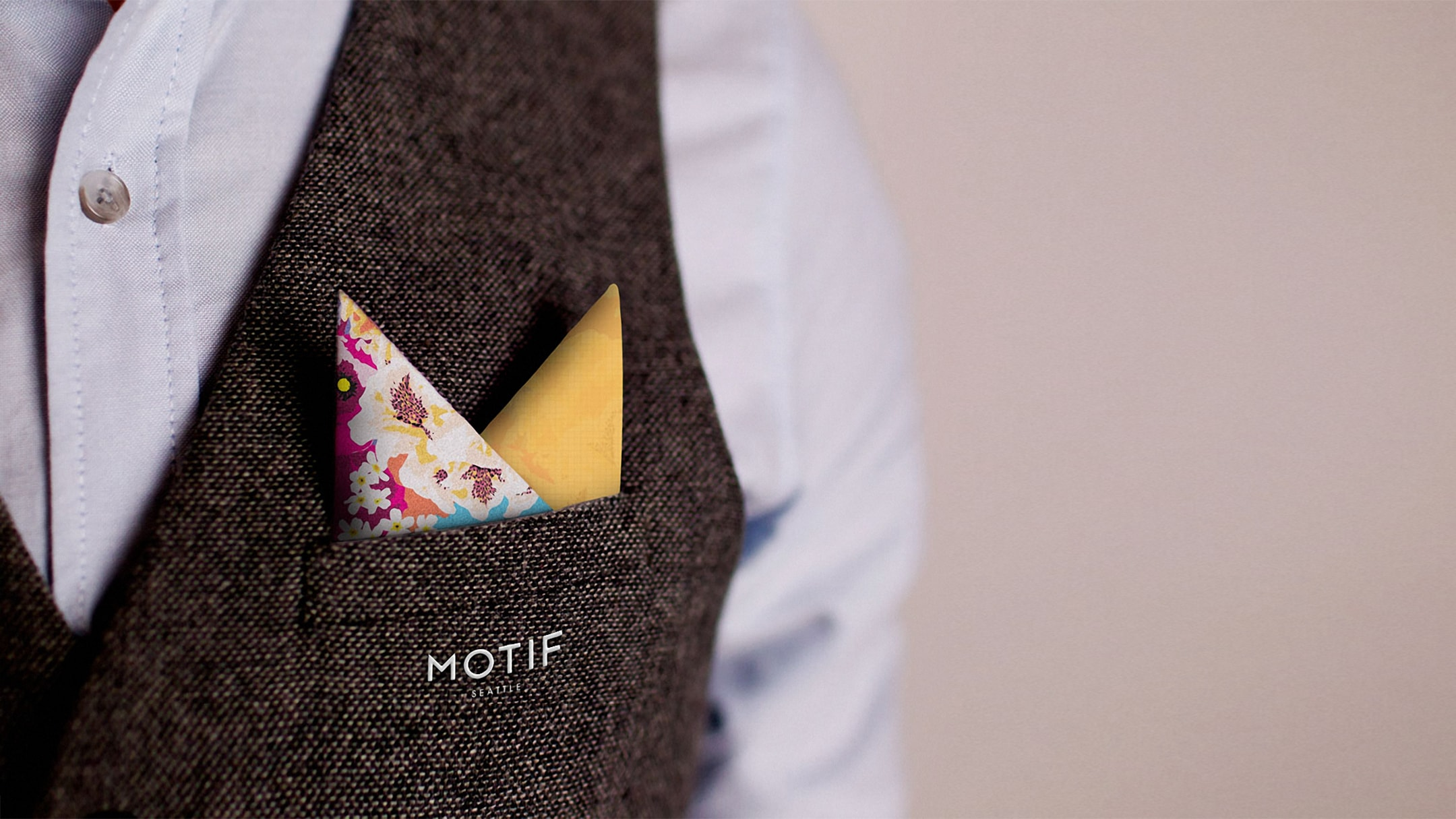 Motif Seattle pocket square - a hospitality branding element.