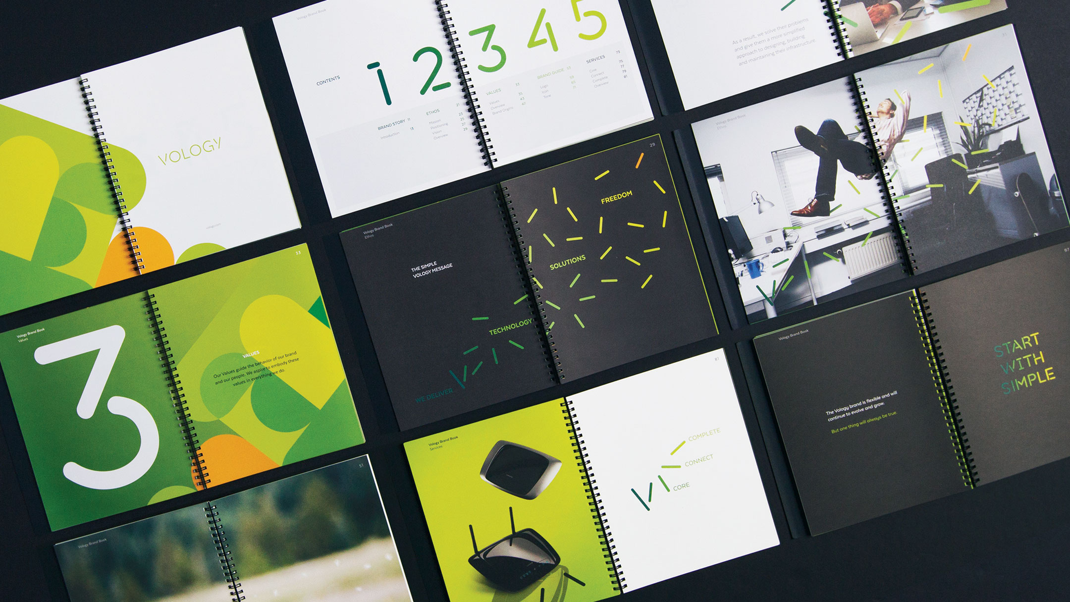 Vology brand book spreads