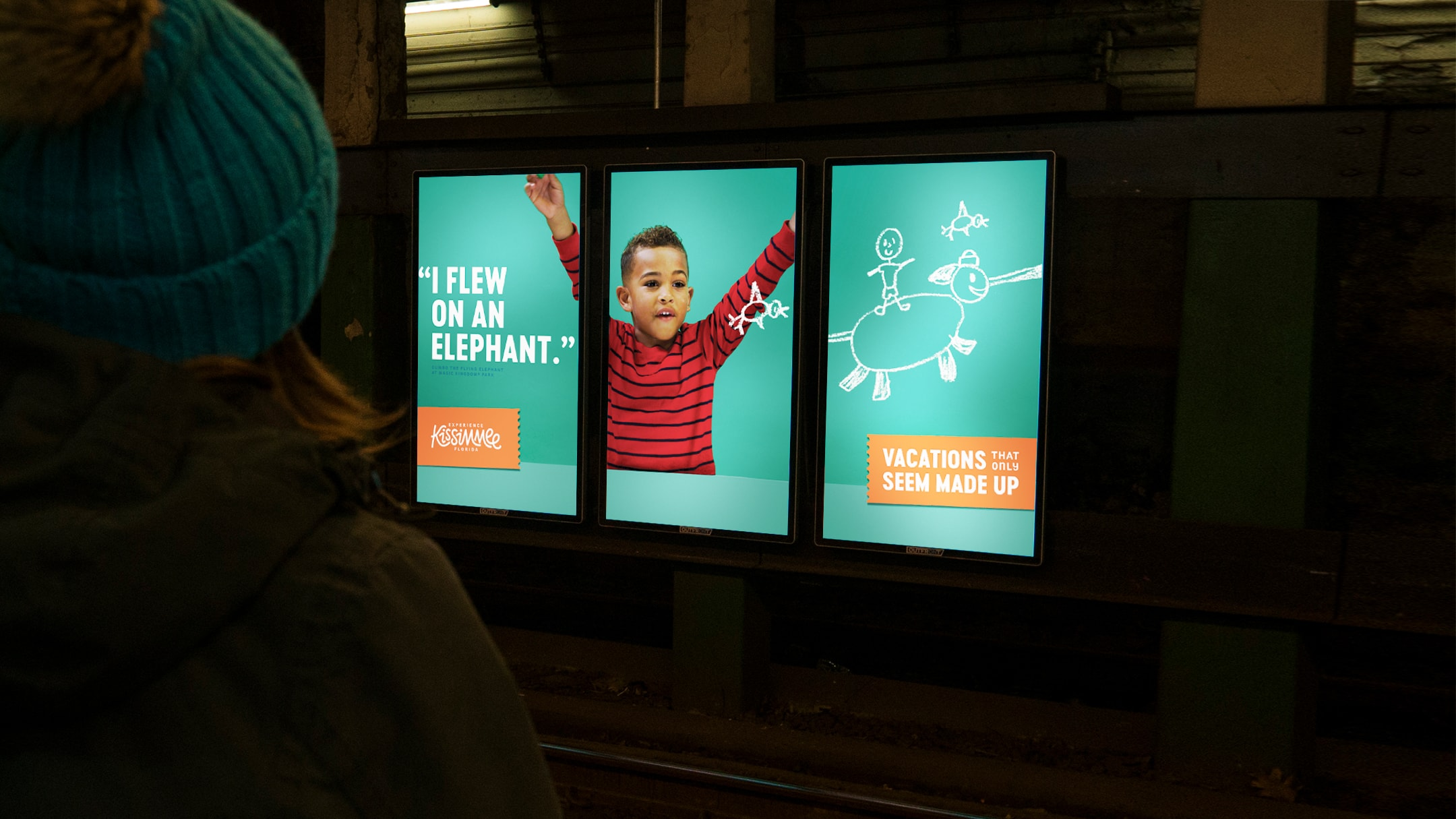 Example of our creative campaign and media planning for Experience Kissimmee's winter campaign. This ad was featured in a subway station.