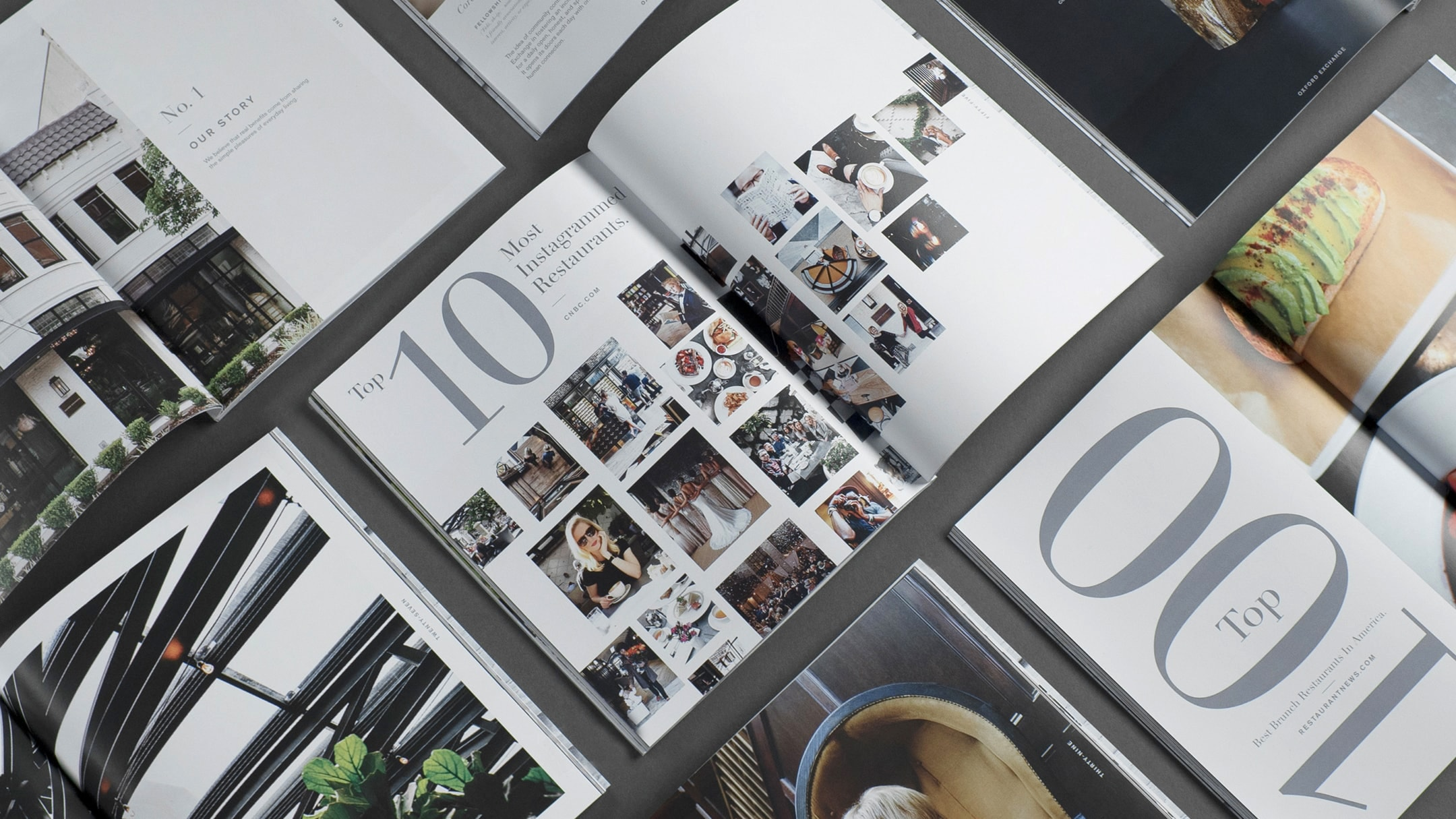 Layouts of brand book for stylish Florida restaurant and store. - branding and brochure design project