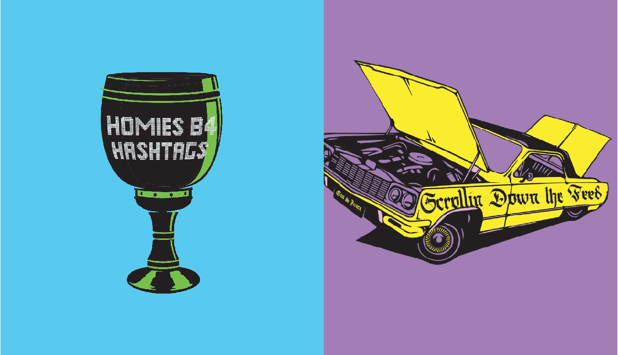 Illustrations of chalice and low rider gangster vehicle.