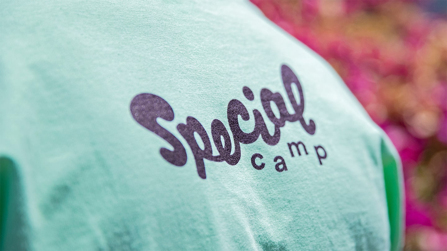 Example of nonprofit rebrand for 2017 STOKED recipient Special Camp for Special Kids—tshirt mockup