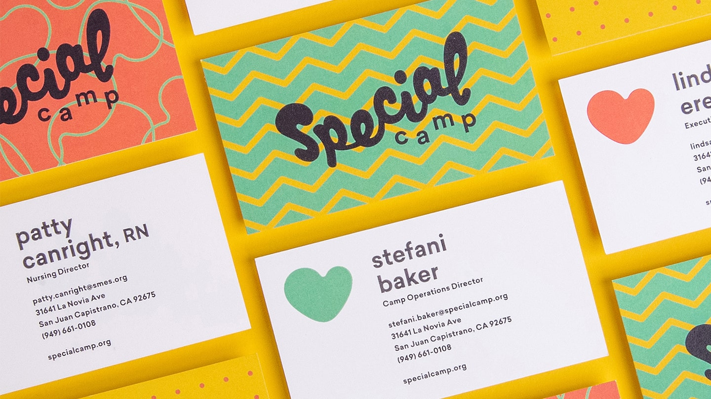 Example of nonprofit rebrand for 2017 STOKED recipient Special Camp for Special Kids—business cards