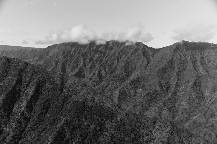 A black and white photo of a mountain in Hawaii.