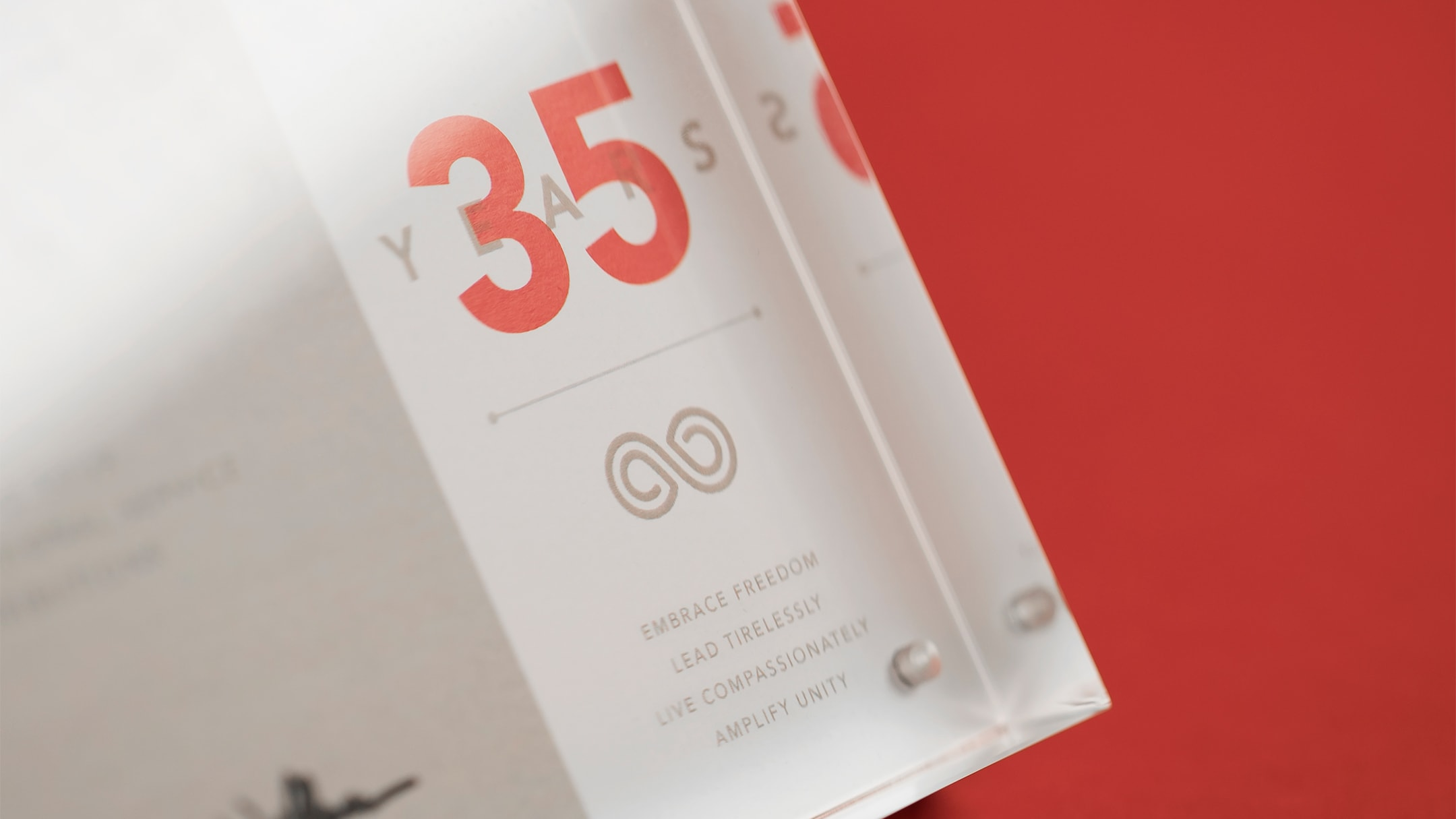 Close up of an award celebrating 35 years of employment