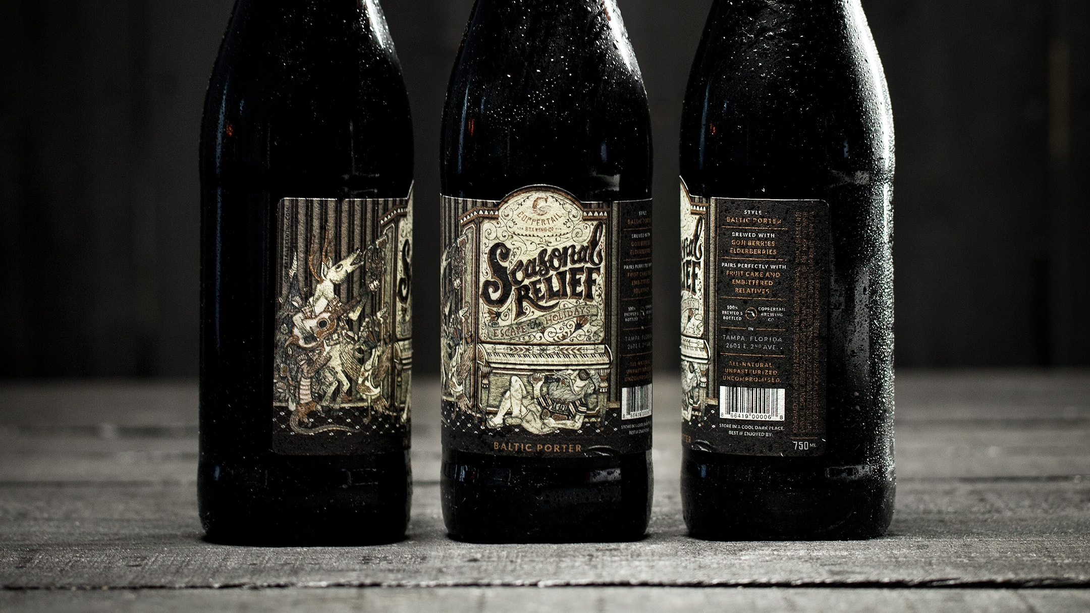 Coppertail specialty seasonal label on bottles