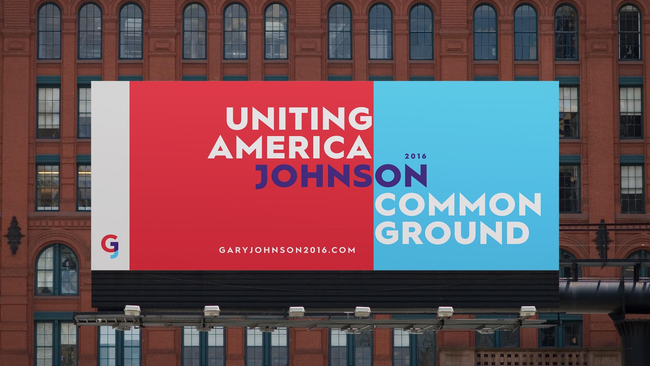 Gary Johnson spec campaign billboard in city