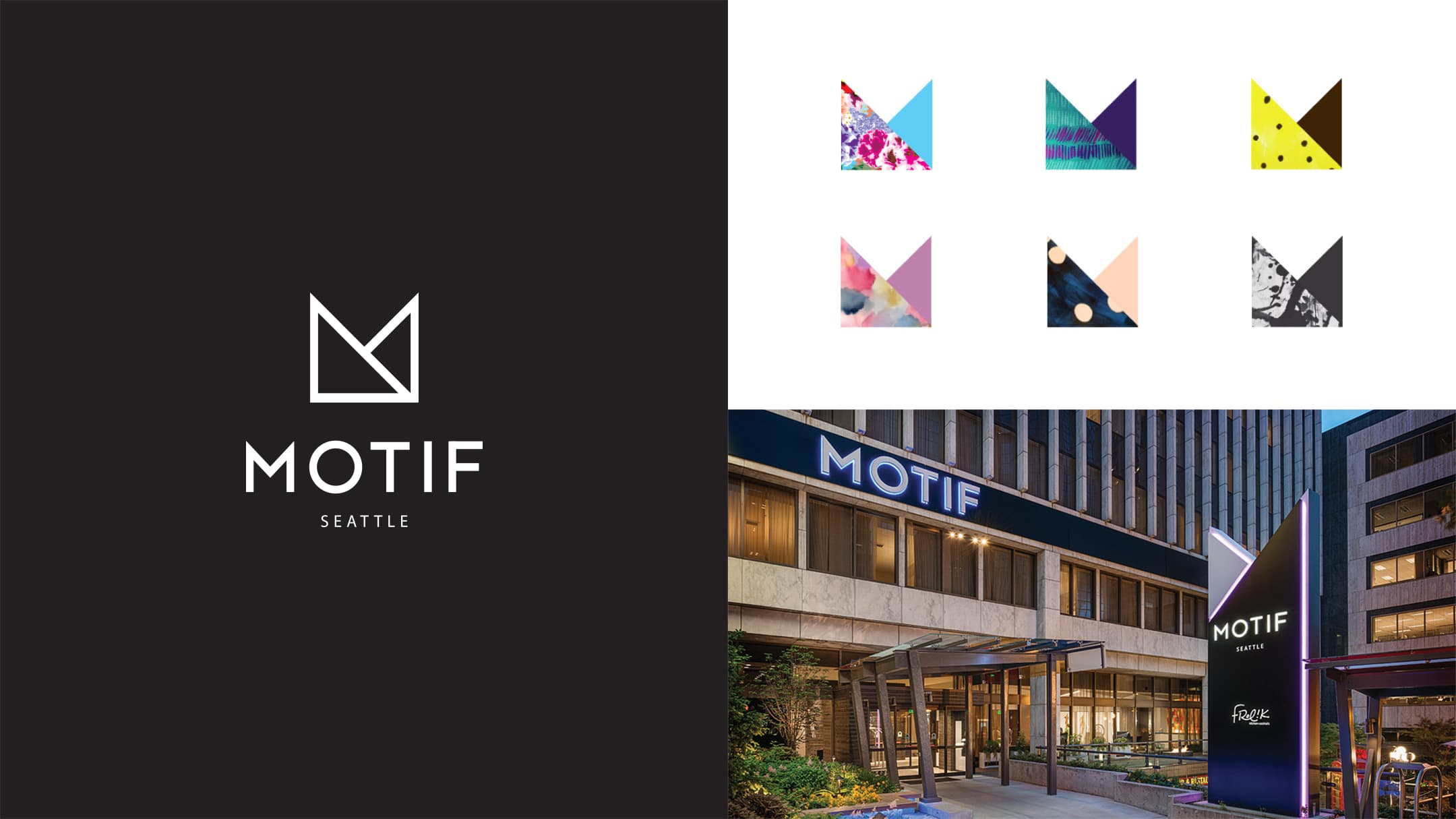 Motif Seattle logo design and signage - elements of our hotel branding project for them.