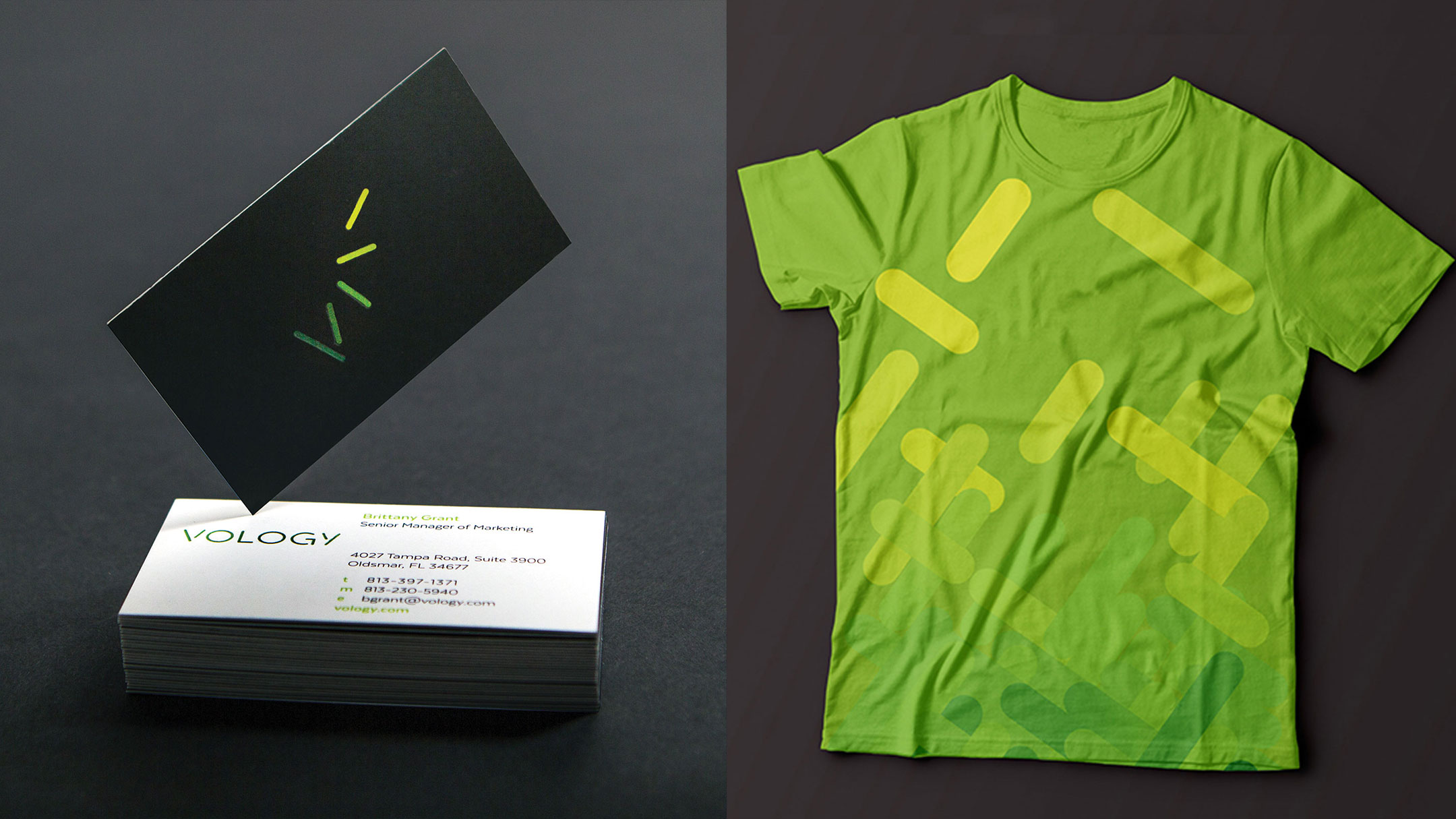 Vology business cards and branded t-shirt