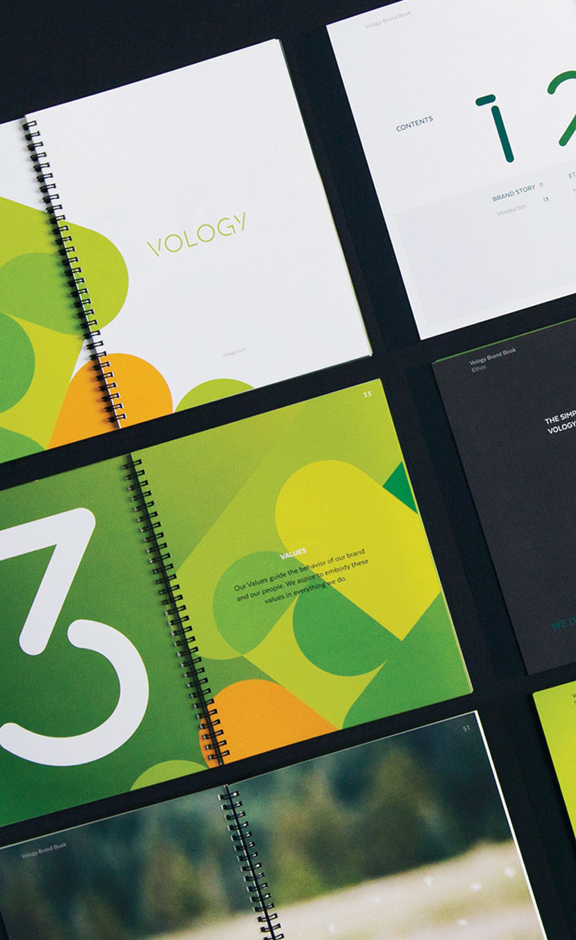 A display of some of the spreads in Vology's brand book