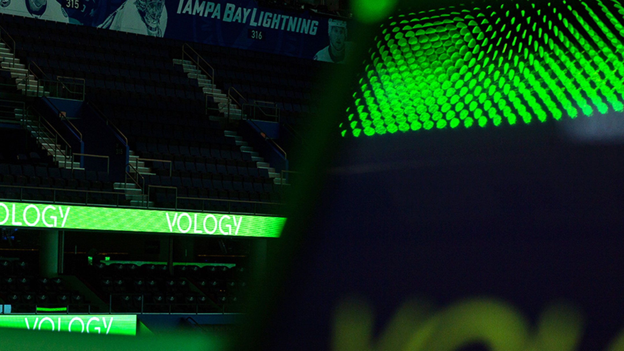 Vology banners at sports arena - an example of the updated IT marketing plan.