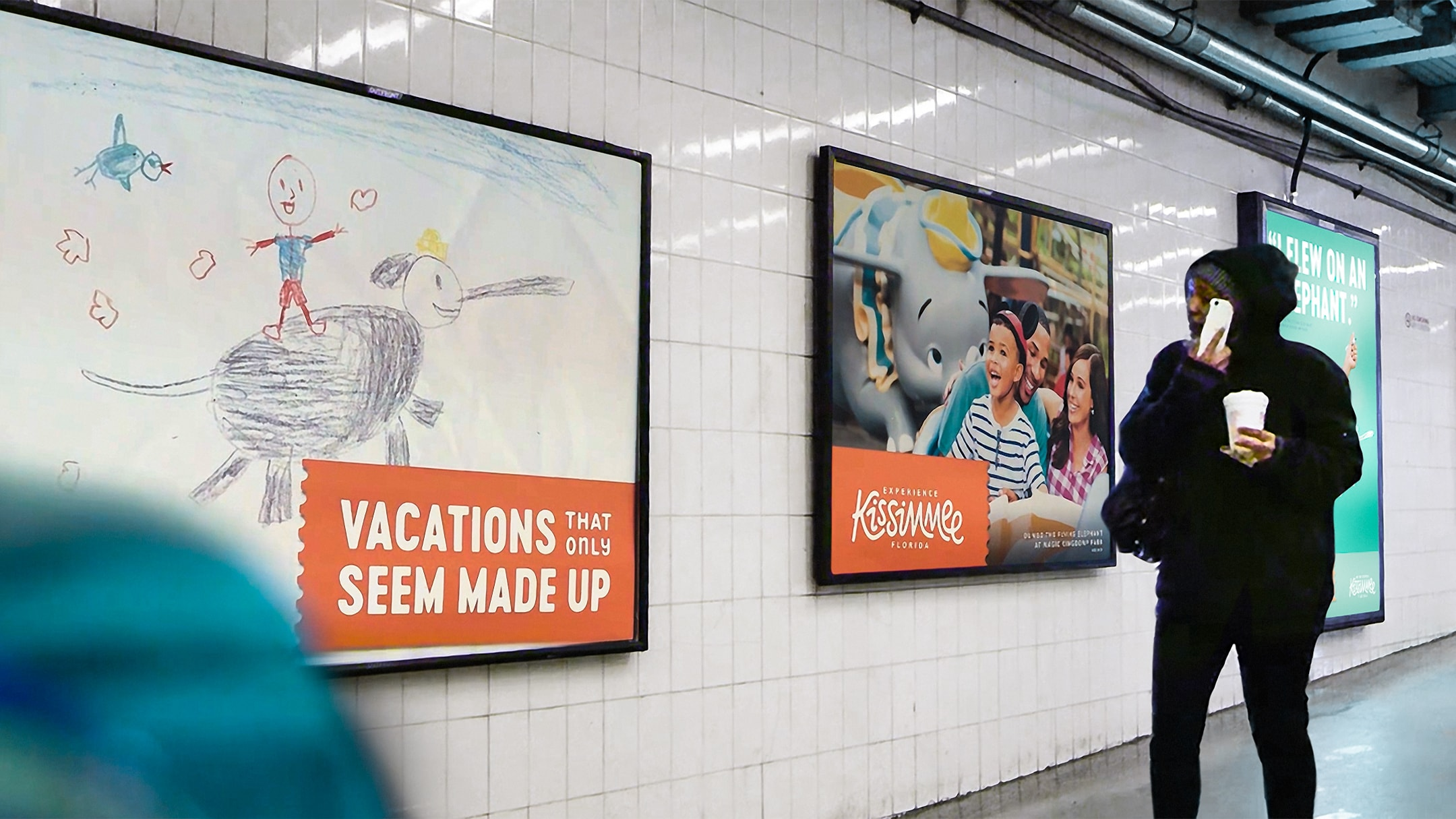 Example of our creative campaign and media planning for Experience Kissimmee's winter campaign. These ads was featured in a subway station.