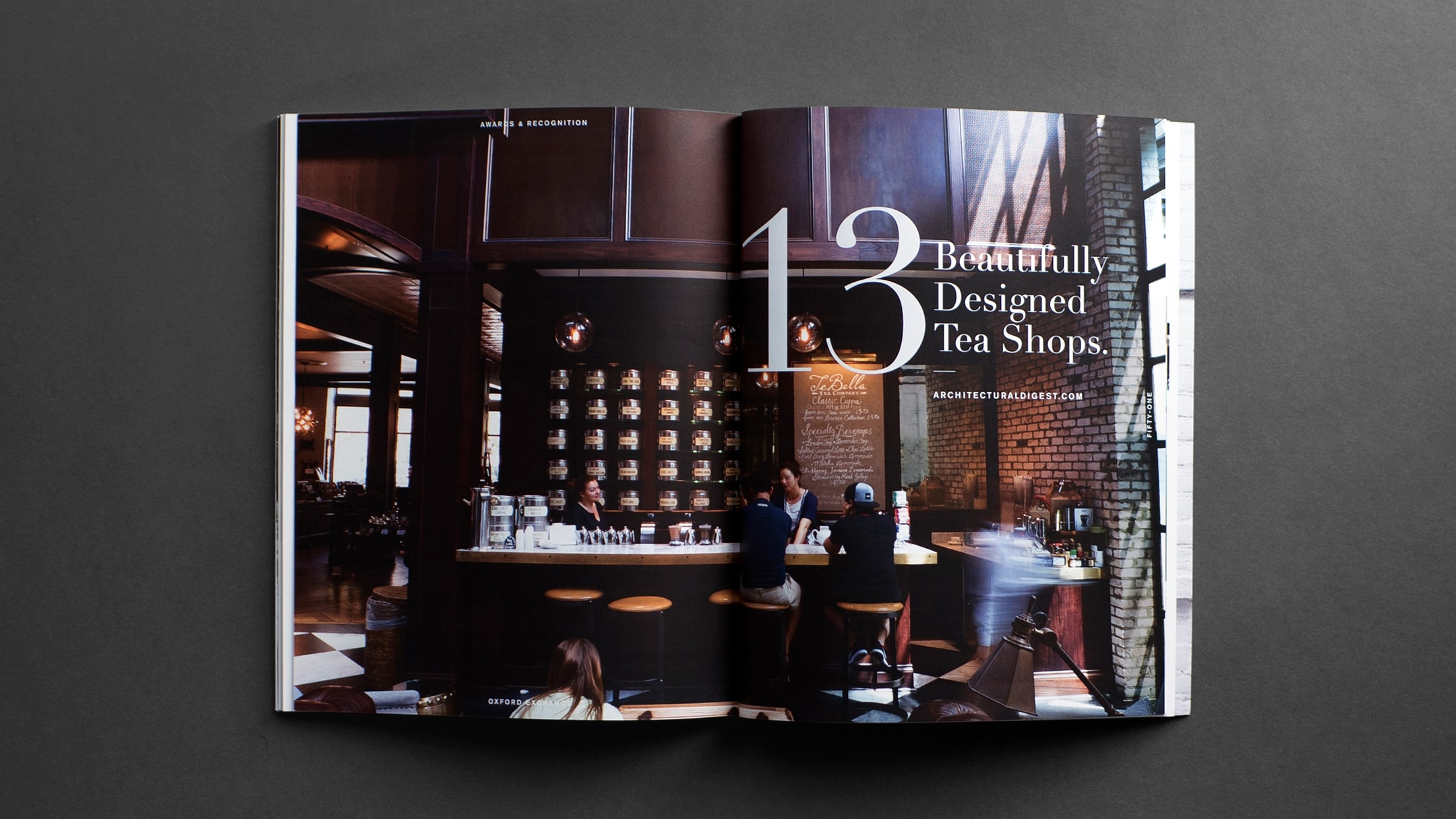 Book layout for stylish Florida restaurant and store.
